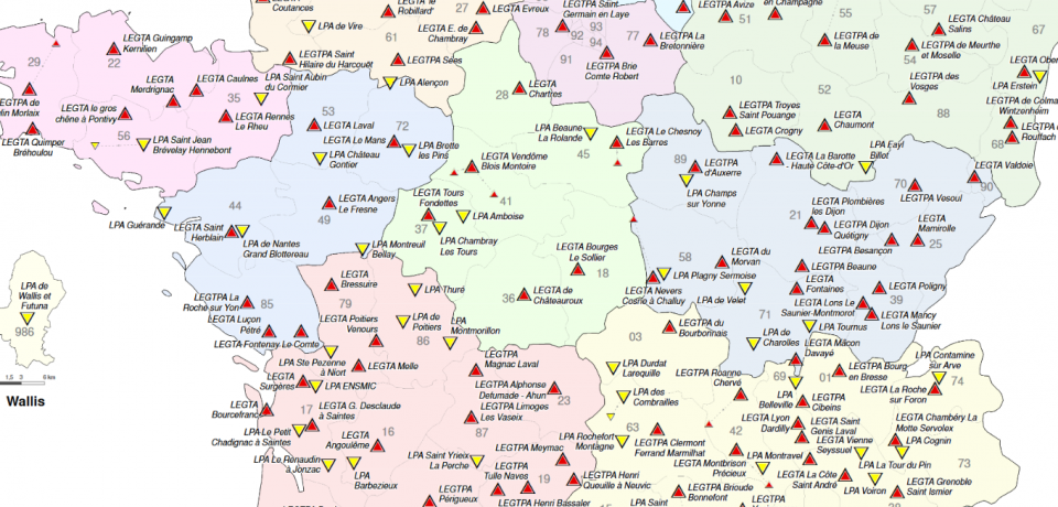 Cartes nationales des établissements publics d'enseignement agricole