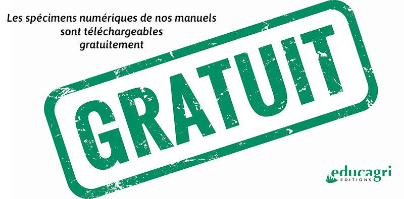 Gratuité des spécimens numériques des manuels Educagri éditions
